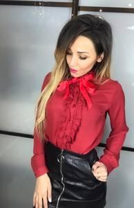 Рубашка с длинным рукавом красная Х1787
