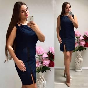 Платье короткое трикотажное синее Т7347
