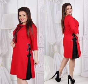 Платье короткое нарядное красное Ф1083