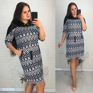 Платье короткое нарядное с принтом Ф3430