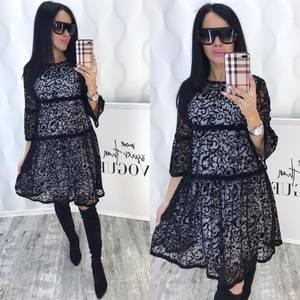 Платье короткое с рукавом 3/4 современное Ф6383