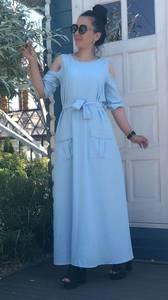 Платье длинное голубое нарядное Т9512