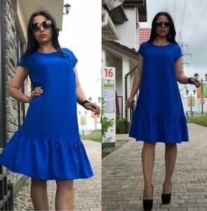 Платье короткое повседневное синее Т9888