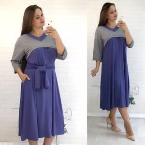 Платье длинное с коротким рукавом повседневное У9485