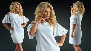 Платье короткое нарядное белое Ф7243
