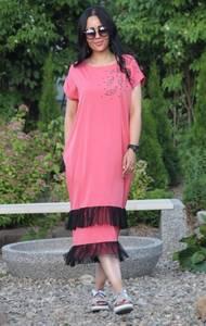 Платье длинное розовое повседневное Т9553