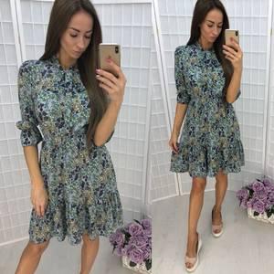 Платье короткое нарядное с принтом Т9942