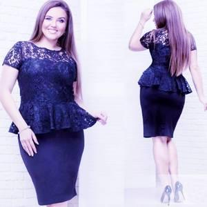 Платье короткое нарядное синее Х1332