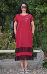 Платье длинное красное повседневное Т9554