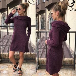 Платье короткое с длинным рукавом теплое У0301