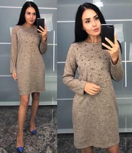 Платье короткое трикотажное однотонное У9149