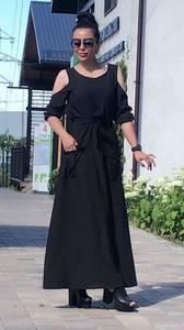 Платье длинное черное нарядное Т9515