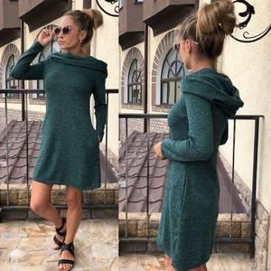 Платье короткое с длинным рукавом теплое У0302