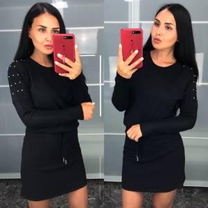 Платье короткое черное теплое Т9430