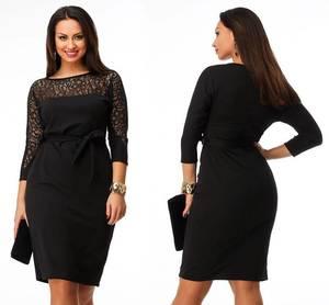 Платье короткое нарядное черное Ф5410