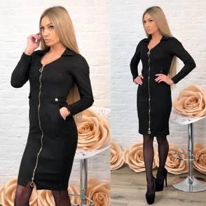Платье короткое футляр черное Ф7055