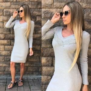 Платье короткое с длинным рукавом облегающее У0303