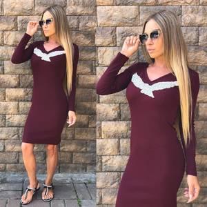 Платье короткое однотонное облегающее У0304