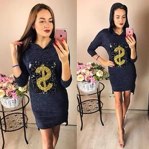 Платье короткое повседневное с принтом Ф2042