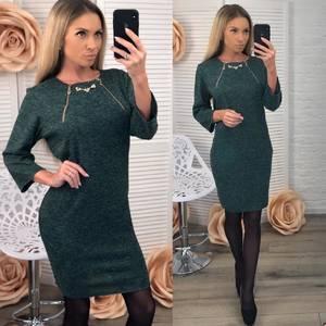 Платье короткое нарядное зеленое Ф5415