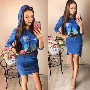 Платье короткое повседневное с принтом Ф2043