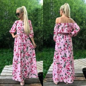 Платье длинное с принтом нарядное Т7927