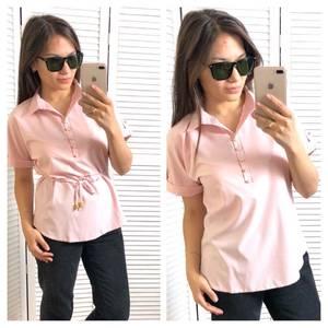 Блуза с коротким рукавом розовая Т4313