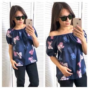 Блуза с цветочным принтом с коротким рукавом Т4344