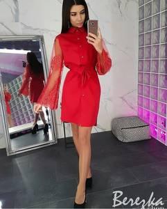 Платье короткое с длинным рукавом современное Ц3325