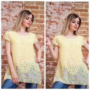 Блуза с цветочным принтом желтая Т7486
