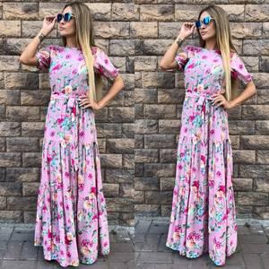 Платье длинное с принтом розовое Т9604