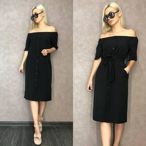 Платье короткое классическое черное Т9594