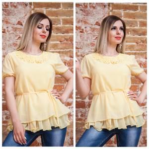 Блуза с цветочным принтом желтая Т7487