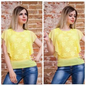 Блуза с цветочным принтом желтая Т7488