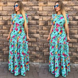 Платье длинное с принтом голубое Т9606