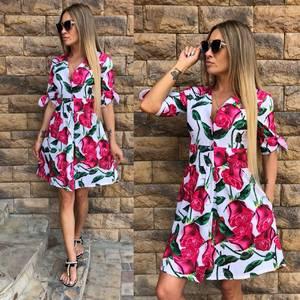 Платье короткое с принтом летнее Т9586