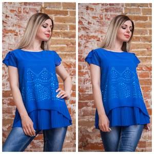 Блуза с цветочным принтом синяя Т7490