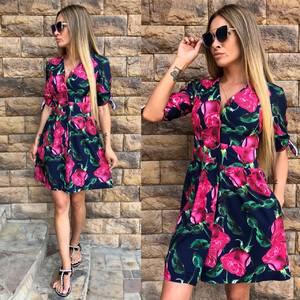 Платье короткое с принтом летнее Т9587