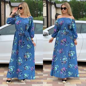Платье длинное с принтом Ц6730