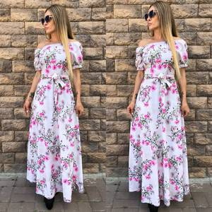Платье длинное с принтом розовое Т9608