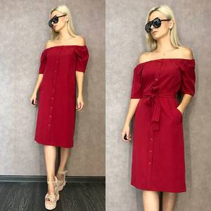 Платье короткое классическое красное Т9590