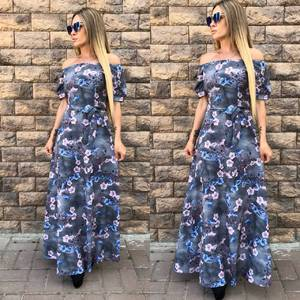 Платье длинное с принтом серое Т9609