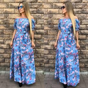 Платье длинное с принтом голубое Т9610