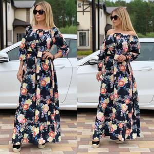 Платье длинное с принтом Ц6732