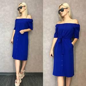 Платье короткое синее классическое Т9593