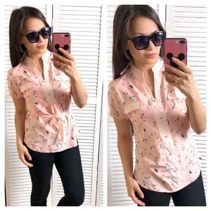 Блуза розовая с коротким рукавом Т1451