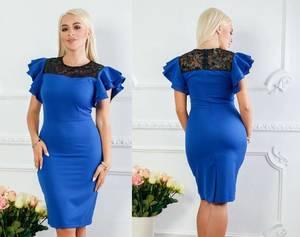 Платье короткое нарядное синее Х1412