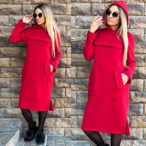 Платье короткое красное теплое Ф0900