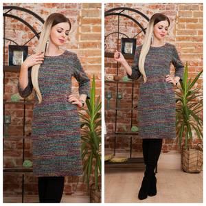Платье короткое трикотажное теплое Ф2069