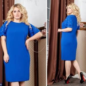 Платье короткое нарядное синее Х1882